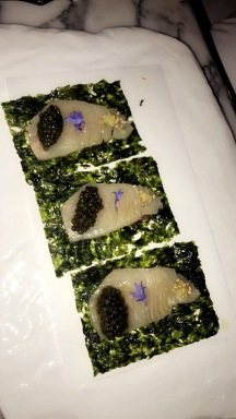 Jose's Asian taco (Iberico ham, cured hamachi, caviar, and seaweed)